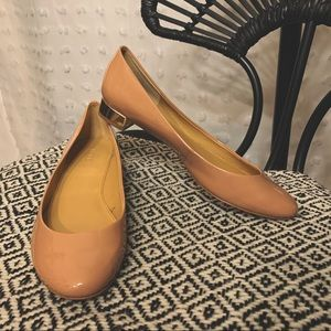 J.CREW Patent Leather Gold Heel Flats